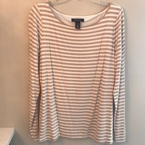 WHBM Camel and White Long Sleeve Top